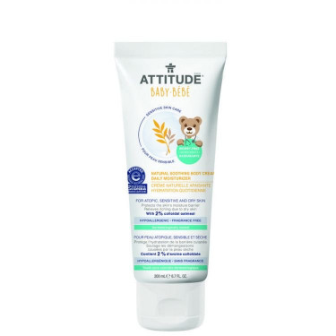 Крем для тела увлажняющий детский 200мл Sensitive Skin, Attitude