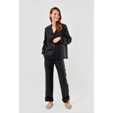 Пижама льняная с брюками Coal Black, Sleeper - 93685