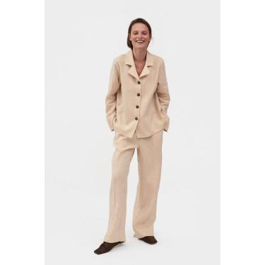 Пижама льняная с брюками Cream, Sleeper - 93683