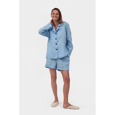 Пижама льняная с шортами Azure Blue, Sleeper - 93682
