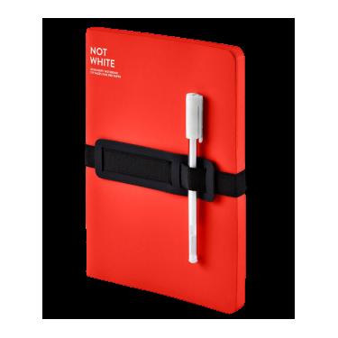 Блокнот Red красного цвета с белой гелевой ручкой 176 с., Nuuna