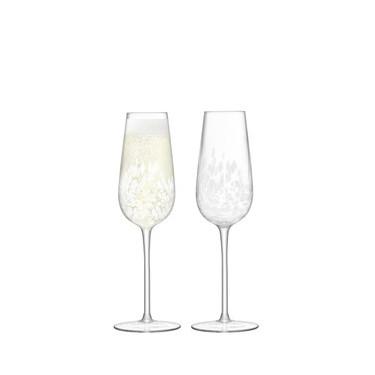 Набор бокалов для шампанского Флют белых 250мл (2шт в уп) Stipple, LSA international