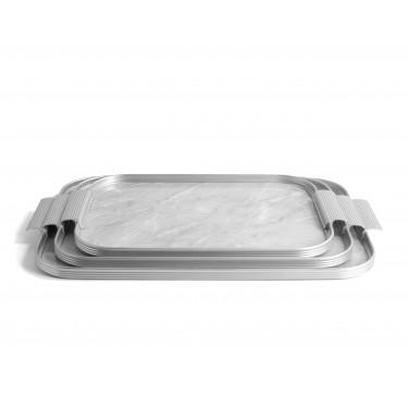 Поднос прямоугольный светло-серый мрамор 40x28см, Kaymet