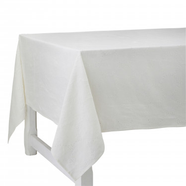 Скатерть льняная с вышивкой белая 180х280см Venice, Charvet Editions - 94740