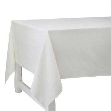 Скатерть льняная с вышивкой белая 180х320см Venice, Charvet Editions - 94741