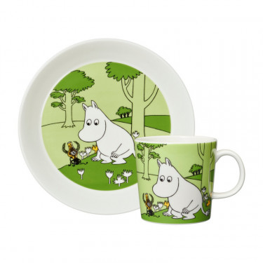 Набор тарелка и кружка Муми-Тролль зеленый Moomin, Arabia