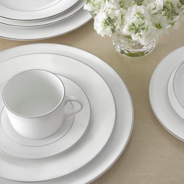 Тарелка для супа 23см белая Vera Wang Blanc Sur Blanc, Wedgwood - 94662