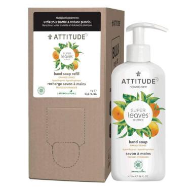 """Мыло для рук жидкое с ароматом апельсина """"Super Leaves"""" 2л, Attitude"""