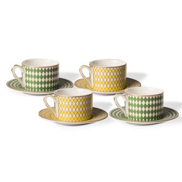 """Набор чашек с блюдцами """"Chess"""" желто-зеленого цвета (4шт в уп), Pols potten"""