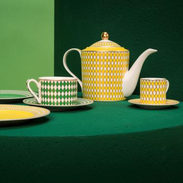 """Набор чашек с блюдцами """"Chess"""" желто-зеленого цвета (4шт в уп), Pols potten - Q2050"""