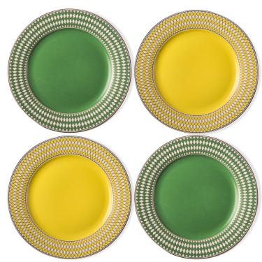 "Набор тарелок ""Chess"" желто-зеленого цвета (4шт в уп), Pols potten"