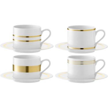Набір з 4-х чашок для чаю 250мл та 4-х блюдець Deco, LSA international