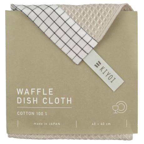 Полотенце кухонное вафельное бежевое 40х40см, Harada Textile - 48729