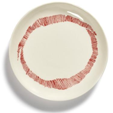 Тарелка XS бело-красная в полоску Feast by Ottolenghi, Serax - Q8799