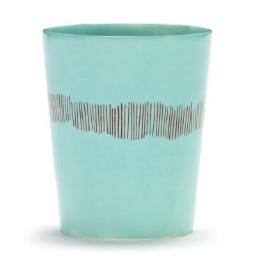 Чашка для чая 330 мл сине-красная в полоску Feast by Ottolenghi, Serax - Q8823