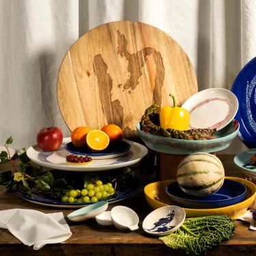 Тарелка L голубовато-белая в полоску Feast by Ottolenghi, Serax - Q8808