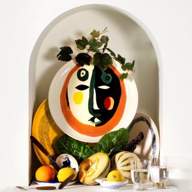 Тарелка L бело-голубая в полоску Feast by Ottolenghi, Serax - Q8809