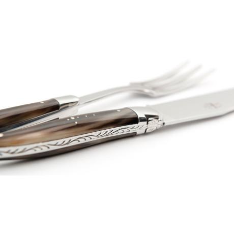 Набор сервировочный, вилка и нож с рукоятками из буйволиного рога (сталь), Forge de Laguiole - 19054