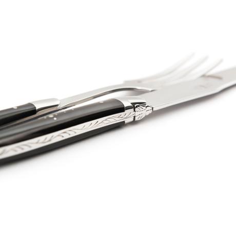 Набор из ножа и вилки с ручкой из черного буйволиного рога (сталь), Forge de Laguiole - 19059
