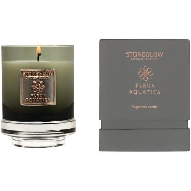Свеча ароматическая Fleur Aquatica (тумблер) 11x8,5см Metallique, Stoneglow - 30840
