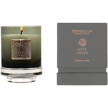 Свеча ароматическая Роза Янтарь (тумблер) 11x8,5смMetallique, Stoneglow - 30838