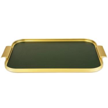 Поднос зелено-золотиста с рельефной поверхностью 40x28см, Kaymet - 33676