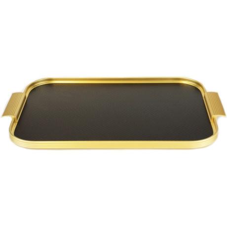 Поднос чорно-золотистый с рельефной поверхностью 40x28см, Kaymet - 33675