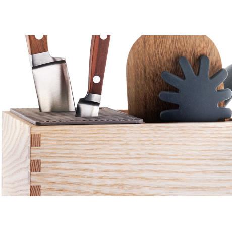 Подставка для ножей и кухонный органайзер из ясеня 13х18х21,5см, Legnoart - 34341