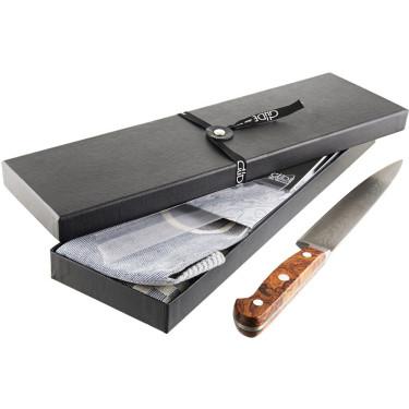 Нож филейный из дамасской стали 21см в подарочной упаковке с льняным полотенцем, Gude