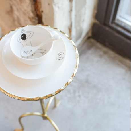 Чайный набор фарфоровый белый Обнаженная леди (4 чашки и чайник), Pols potten - 35641