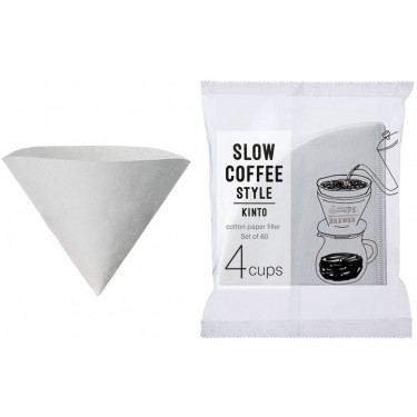 Фильтры для кофе на 4 чашки бумажные 60шт Slow Coffee Style, Kinto - 19256