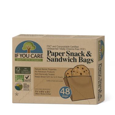 Пакеты бумажные для сендвичей 19 х 16,2 х 5,7см 48шт, If You Care - 15274