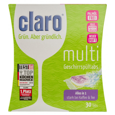 Таблетки для посудомоечной машины Eco Multi Tabs 30 шт, Claro - 40827