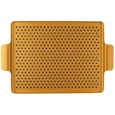 Поднос золотистый с резиновыми вставками32x25см,Kaymet - 46422