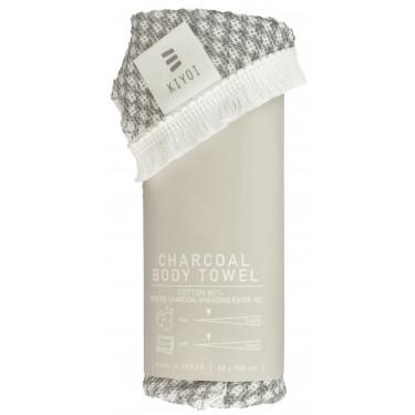 Полотенце-мочалка для тела из кукурузных волокон и угля 30х100см, Harada Textile